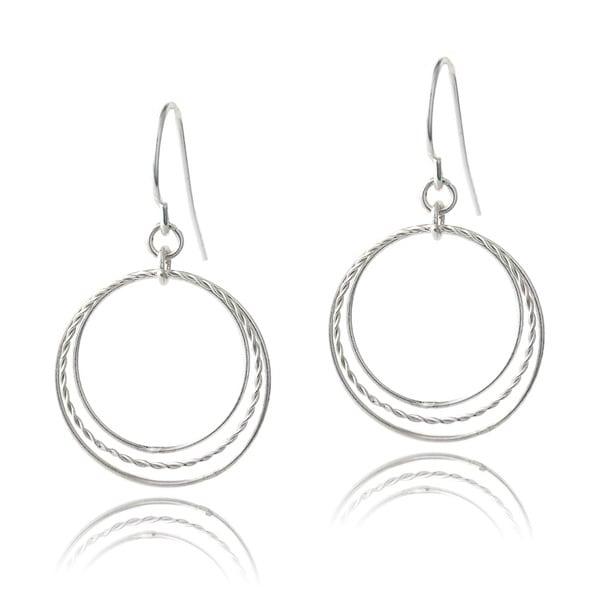Mondevio Sterling Silver Triple Hoop Dangle Earrings