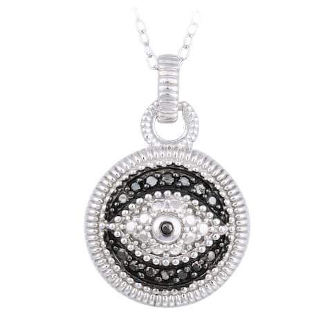 DB Designs Sterling Silver 1/10ct TDW Black Diamond Evil Eye Necklace
