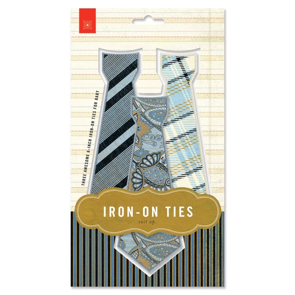Basic Grey Iron-on Ties (Pack of 3)