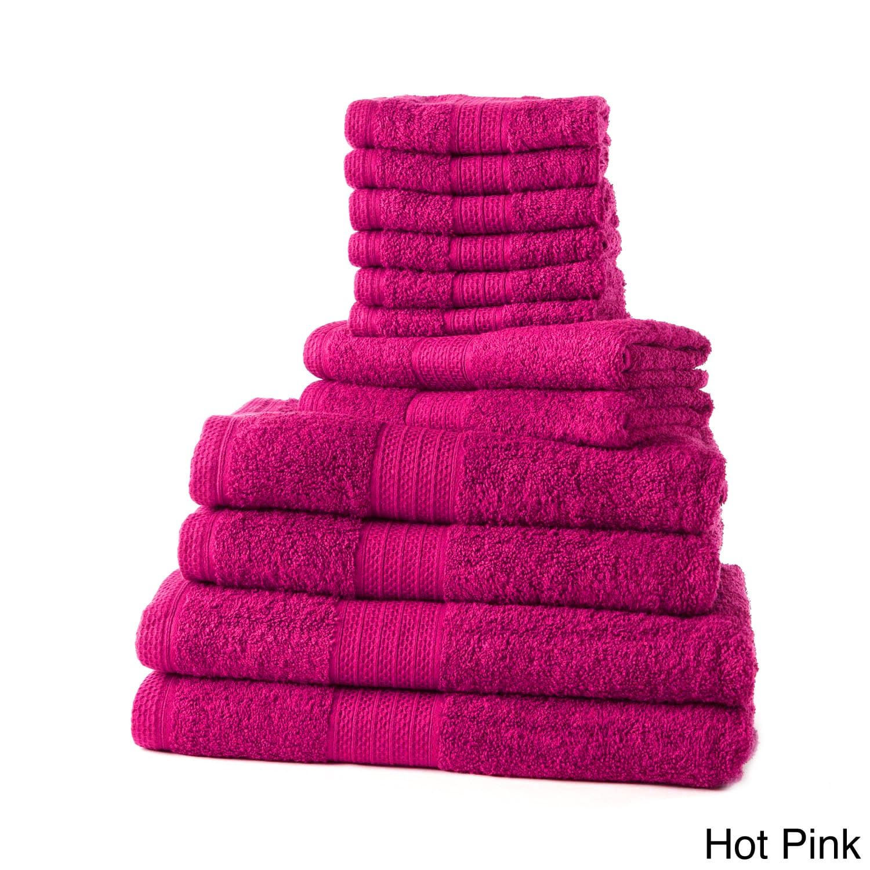 Divatex Home Fashions Cotton 12-piece Towel Set with Bath...