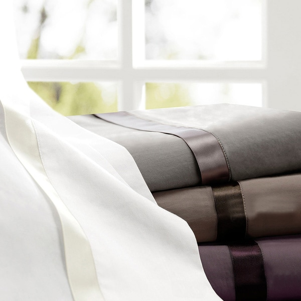 Madison Park Vitale 300 Thread Count Cotton Sateen Sheet Set with Ribbon Trim