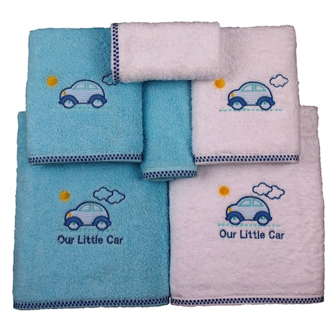 Lucia Minelli Car Embroidered Turkish Cotton Bathroom Towel Set - Quick Dry Bath Towels (Set of 6)