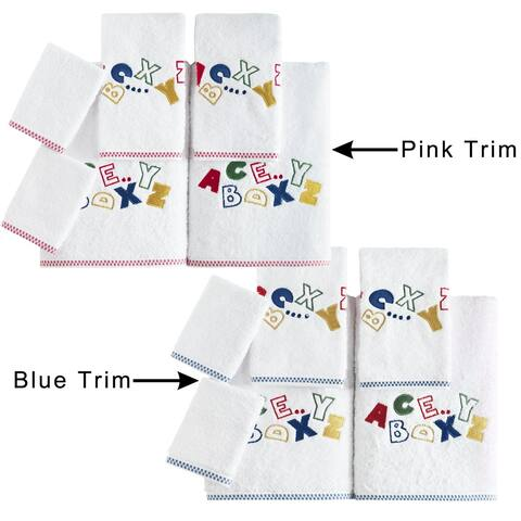Lucia Minelli Kid's Alphabet Embroidered 6-piece Luxury Soft Turkish Cotton Towel Set