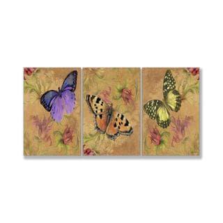 Jean Plout 'Aqua Butterfly Garden' Triptych Art