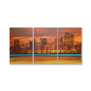 Jean Plout 'Crimson Skyscrapers' Triptych Art