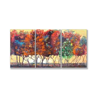 Jean Plout 'Enchanted Forest' Triptych Art