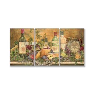 Jean Plout 'Grapes of Tuscany' Triptych Art