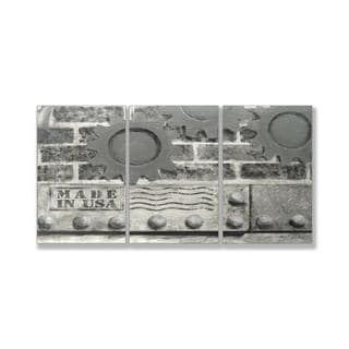 Jean Plout 'Grey Industrial USA' Triptych Art