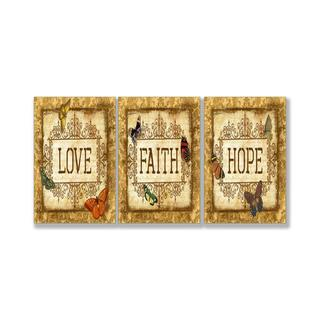 Jean Plout 'Love Faith Hope Tapestry' Triptych Art
