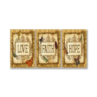 Love, Faith, Hope Tapestry 3-piece Wall Plaque Set