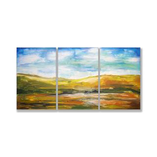 Jean Plout 'Painted Horizons' Triptych Art