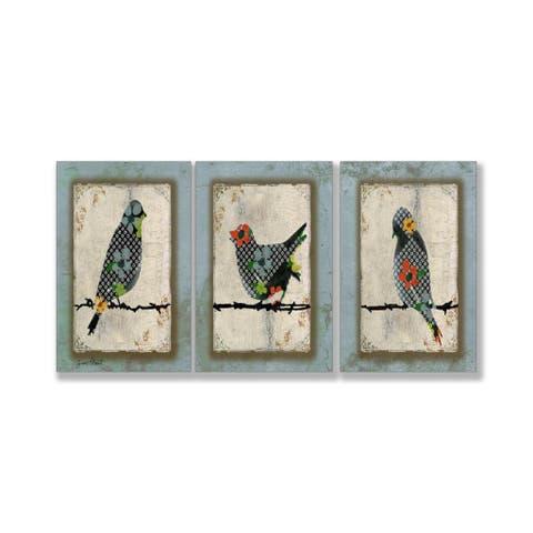 "Jean Plout ""Song Bird Trio"" 3-piece Triptych Wall Art Set - Blue"
