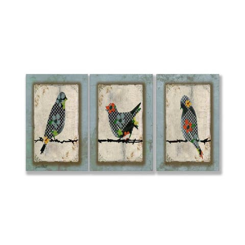 "Jean Plout ""Song Bird Trio"" 3-piece Triptych Wall Art Set - Blue"