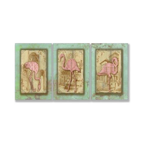 Jean Plout 'Vintage Pink Flamingo Trio' Triptych Art