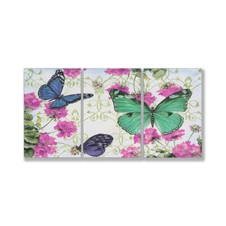 Jean Plout 'Butterfly Inspirations' Triptych Art