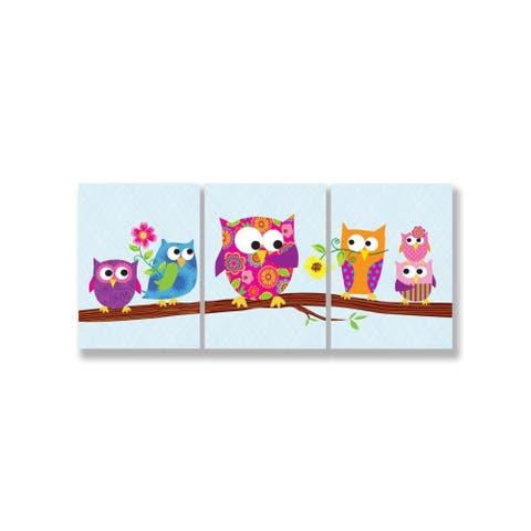 'Owls on Branch' 3-plaque Wall Art