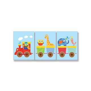Animals on Whimsical Train Wall Art Plaques (Set of 3)