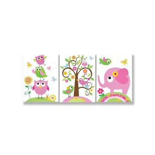 Owls, Elephants and Birds Trio Wall Plaques (Set of 3)