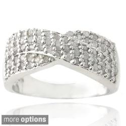 DB Designs Silvertone 3/4ct TDW Diamond Crossover Ring (I-J, I2-I3)