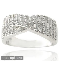 DB Designs Silvertone 3/4ct TDW Diamond Crossover Ring