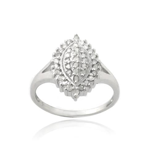 DB Designs Silevrtone 3/8ct TDW Diamond Marquise Shape Ring
