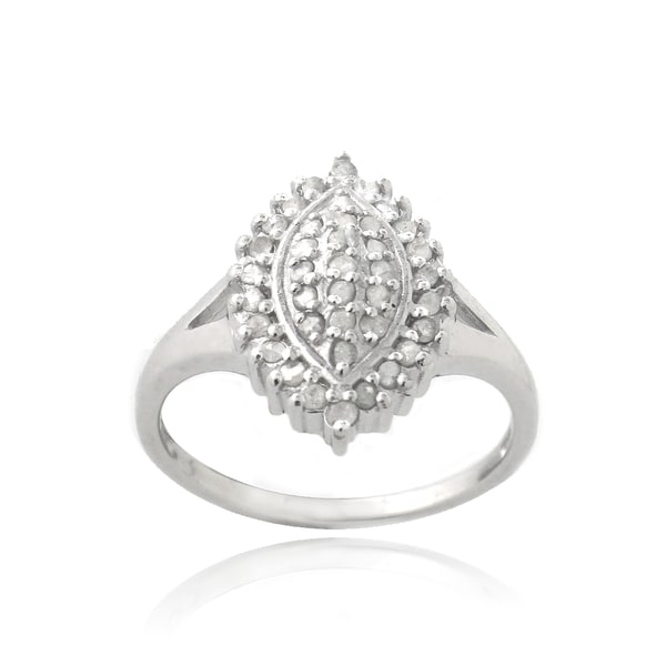 DB Designs Silevrtone 3/8ct TDW Diamond Marquise Shape Ring (I-J, I2-I3)