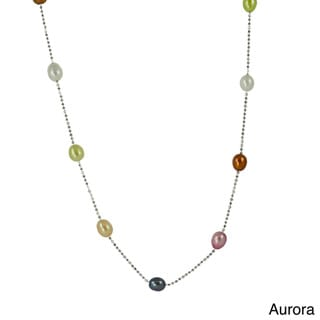 Pearls For You Sterling Silver Dyed FW Pearl Station Necklace (7-7.5 mm)