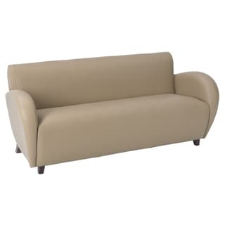 Office Star Products 'Eleganza' Taupe Eco Leather Sofa Chair with Cherry Finish on Legs