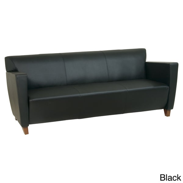 Black Leather Sofa Office: Office Star Products Black Leather Sofa Chair With Legs In