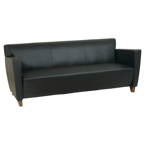 Bonded Leather Sofa with Cherry Finish