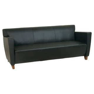 Office Star Products Leather Sofa Chair with Legs in Cherry Finish