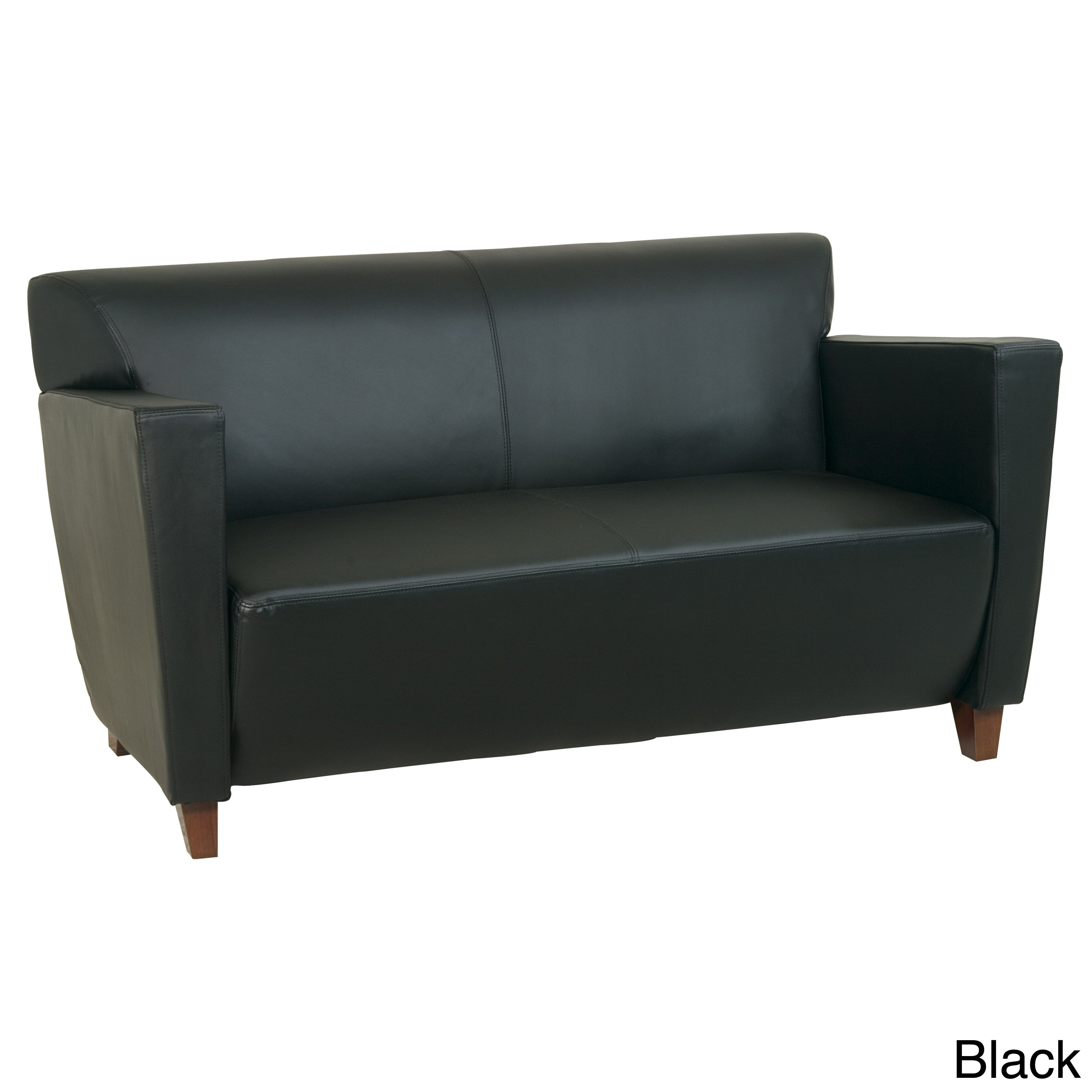 Office Star Products Leather Loveseat Chair with Legs in ...