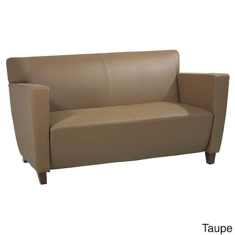 Bonded Leather Love Seat with Cherry Finis - N/A