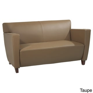 Bonded Leather Love Seat With Cherry Finis