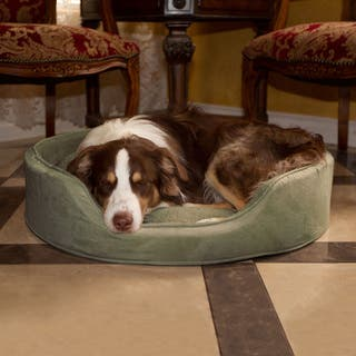 Cuddle Round Suede Forest Green Terry Pet Bed