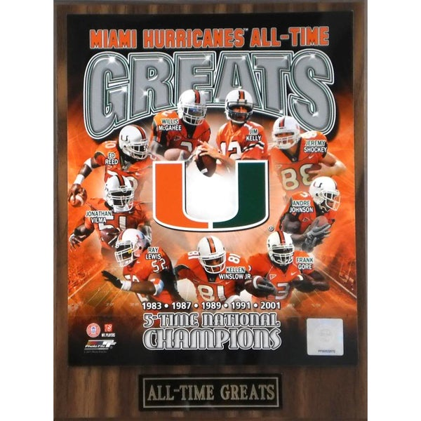 Miami Hurricanes 'All Time Greats' Plaque