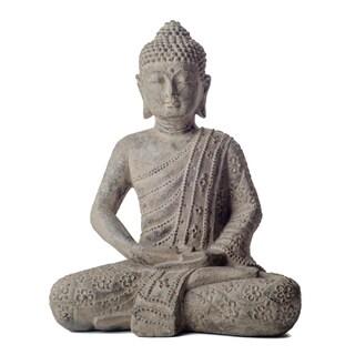 Volcanic Stone Buddha Lotus Robe Stonewashed Statue, Handmade in Indonesia