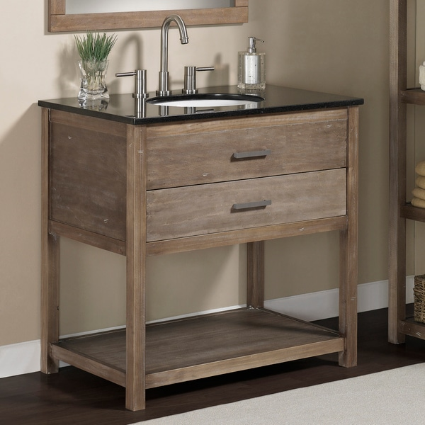 Elements 36 Inch Granite Top Single Sink Bathroom Vanity Free