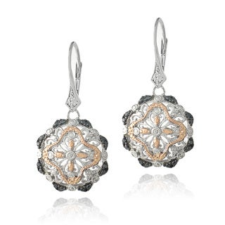 DB Designs Tri-Color 1/10ct TDW Black Diamond Filigree Flower Dangle Earrings