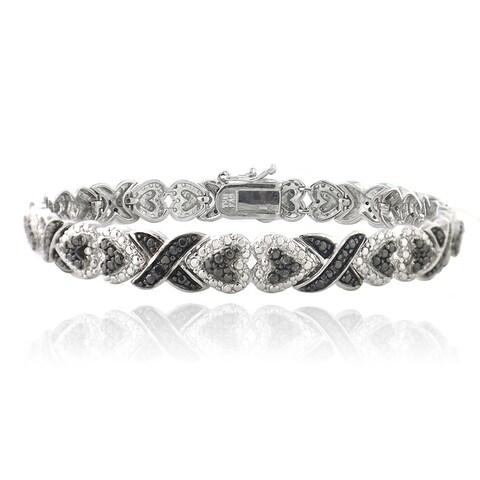 DB Designs Rhodium Plated 1/10ct TDW Black Diamond x and Heart Bracelet