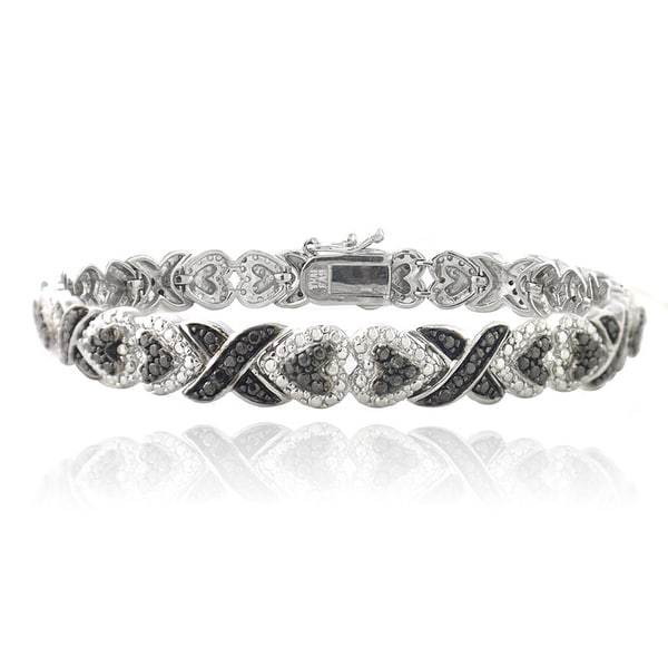 DB Designs Rhodium Plated 1/10ct TDW Black Diamond X and Heart Bracelet. Opens flyout.