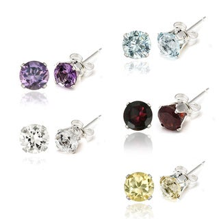Glitzy Rocks Silver And Gemstone Stud 3mm Earrings (Set of 5)(1 1/5ct TGW)