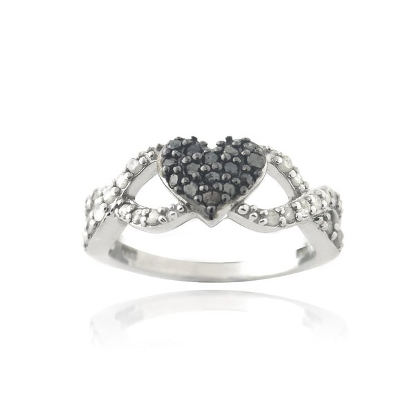 DB Designs Rhodium-plated 3/8ct TDW Black and White Diamond Infinity Heart Ring