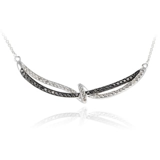 DB Designs Rhodium Plated 5/8ct TDW Black and White Diamond Twist Loop Necklace