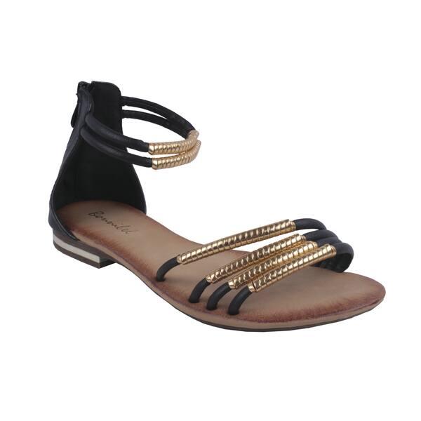 93d3137d36dd Bonnibel by Beston Women s Black  BONZO-3  Ankle-Strap Flat Sandals ...