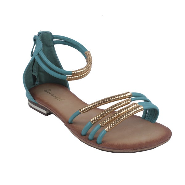 Bonnibel by Beston Women's Turquoise 'BONZO-3' Ankle-Strap Flat Sandals
