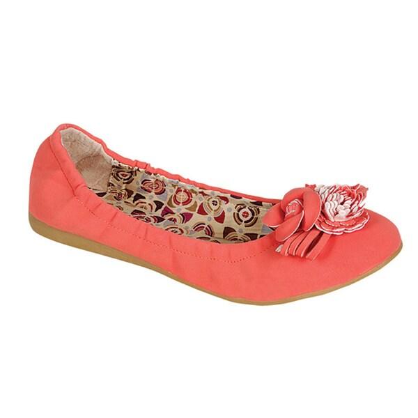 Pinky by Beston Women's 'BEE-12' Slip-On Ballet Flats in Coral