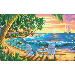 Paint By Number Kit 20X12in-Sunset Beach