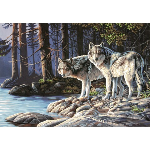 """Paint By Number Kit 20""""X14""""-Gray Wolves"""