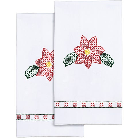 """Stamped White Decorative Hand Towel 17""""X28"""" One Pair"""
